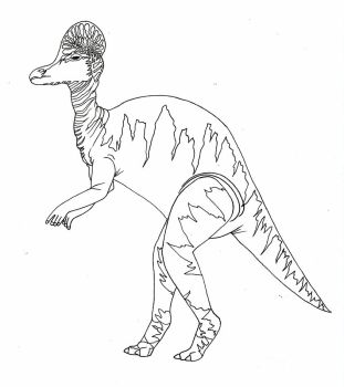 Corythosaurus-line art by imaginationhaven