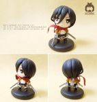 Mikasa - Attack On Titan - handmade clay figure by Booshandmadeshop