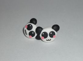 panda stud earrings by RainbowMisa