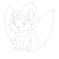 [Line Art] tri-tailed adoptable? by Juuchan17