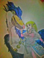 Zelda and Her Bird (Drawing) by YosafireDemonKitty