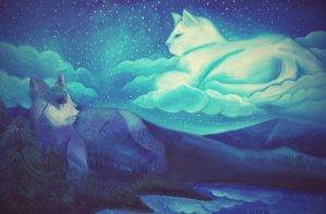 Cat's Love in Starry Mountain by Cre8Eva