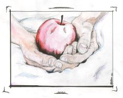Hands and Apple Watercolor by autumnalangel