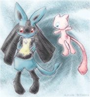 Lucario and Mew by Eledora