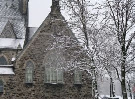 Snowy Church, and tree by musicsuperspaz