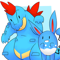 Feraligatr and Azumarill by LexisSketches