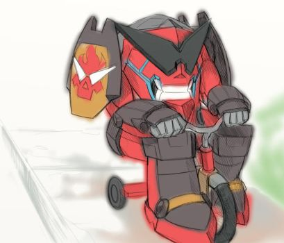 Gurren on his Tricycle by 3-Angled-Blue