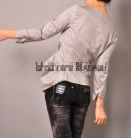 Grey Cotton Pleated Blouse 9 by yystudio
