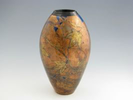 Copper and gold leaf vessel by handcraftedhumidors