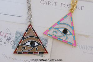 Egyptian Pyramid Necklaces by foowahu-etsy