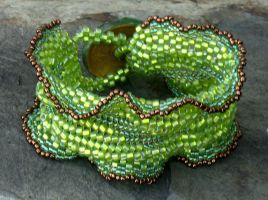 Green Apple Ripple Cuff by MyFairLadyVT4