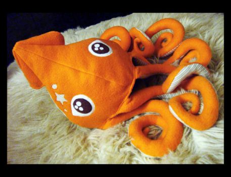 Orange Squid Plush 1 e by TheCurseofRainbow