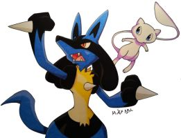 Lucario and Mew by MikeES