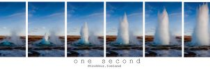 one second, strokkur, Iceland by RaumKraehe
