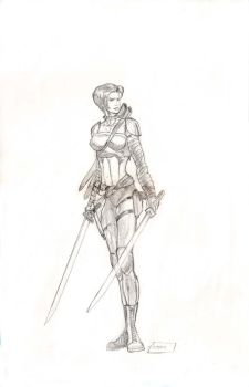 Girl with 2 blades pencils by antgarcia