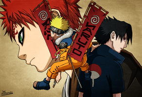Naruto Artbook : Naruto, Gaara and Sasuke by Rollando35