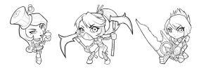 League of Legends Chibis 1: BnW by inkjetcanvas