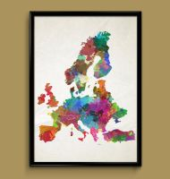 Europe watercolor print by ColourInk