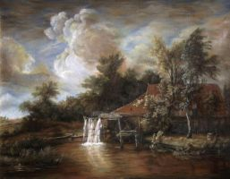 Dan Scurtu- Watermill after Meindert Hobbema by DanScurtu
