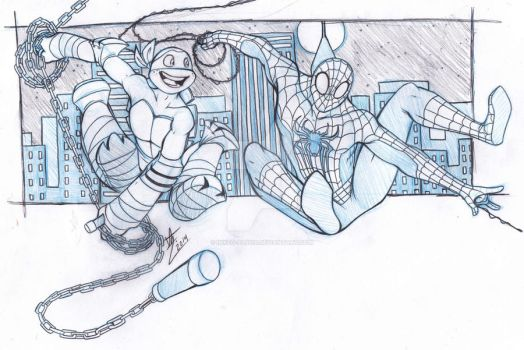 There's a turtle and a spider swinging on my papah by Inked-Alpha