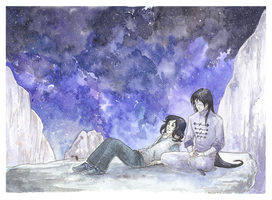 Stargazing with daddy by Amaryan