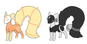 [CLOSED] Sun and moon mistifoxes by Ayinai