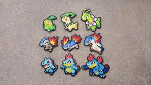 Gen II Starters - Pokemon Perler Bead Sprites by MaddogsCreations