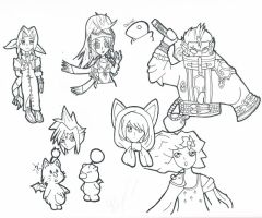 Final Fantasy Doodles by Lee-Scion