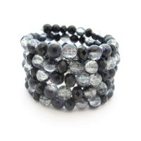Black Beaded Cuff Wrap Bracelet by MoonlightCraft