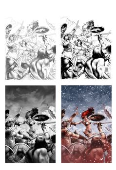 Working process on a Red Sonja by PaulRenaud