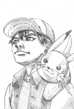 Ash and Pikachu 20min sketch by Comic-Engine-Alex