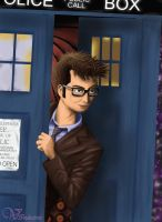 10th Doctor with the TARDIS by Vanthica
