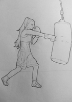 Boxing Practice by McKravendrawings