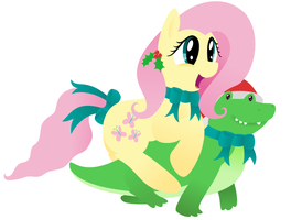 MLP: Fluttershy on a Festive Dino by giantsquidie