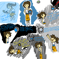 Portal Sketches: Adventure time style by GreenTeaSocks
