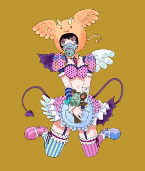 Gas mask girl with lolita. by reonald0628