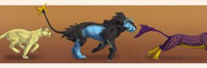Persian, Luxray, Liepard by Tacimur
