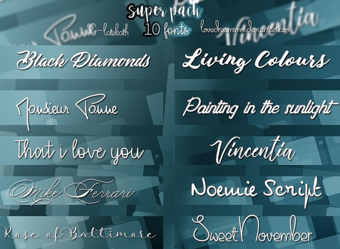 +FREE - SUPER PACK 10 FONTS by LoveDreamsMM