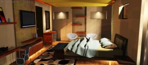 Commissioned interior 3d: Bedroom by kamei47