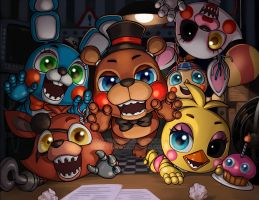 Five Nights with Chibis by AjamariesArt
