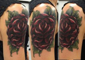 Finished Rose Cover-up Tattoo by adammdesigns
