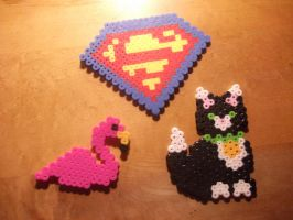 Perler Bead - Flamingo, Superman and Cat by hyper-evil-aly39