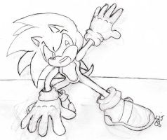 Action pose practice - Sonic by Lousin-Almasd
