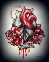 HEART with ROSES tattoo design by oldSkullLovebyMW