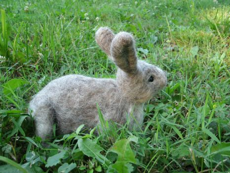 A Needle Felted Cottontail Rabbit by JessieDockins