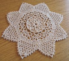 8 Inch 8 Tip Star Doily in Beige, No. 78 by doilydeas
