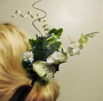 Curly, whimsical floral hair piece by SomethingTeal