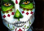 Day of the Dead Girl One ATC by TempestErika