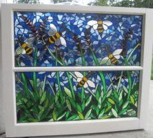 Bee and Lavender Mosaic window by reflectionsshattered