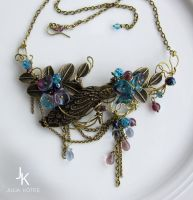 Wire wrapped necklace Dusk at the lake by JSjewelry